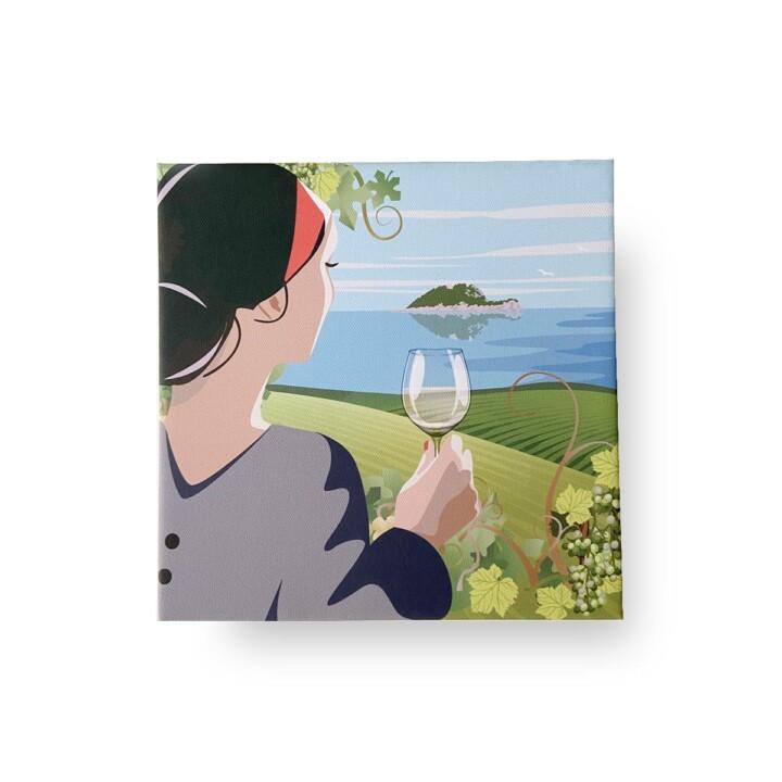 Stampa su tela - Donna con bicchiere